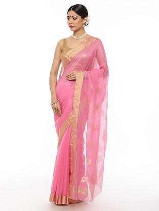 Pink Handwoven Chanderi Saree with Zari