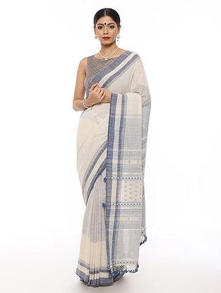 White-Blue Handwoven Cotton Saree