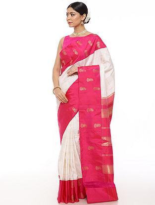 White-Pink Handwoven Kanjivaram Silk Saree