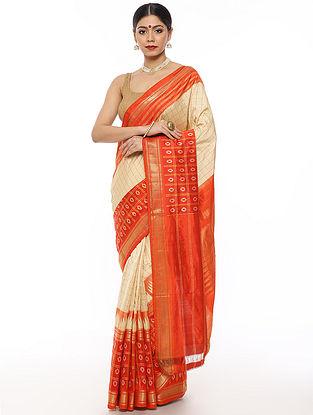 Ivory-Orange Handwoven Pochampally Silk Saree