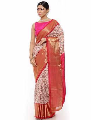 Off-White-Pink Handwoven Pochampally Silk Saree