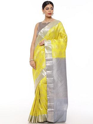 Yellow-Grey Handwoven Kanjivaram Silk Saree