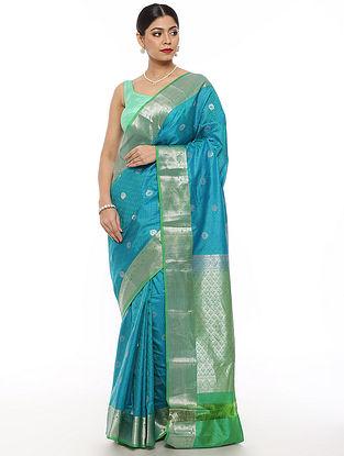 Blue-Green Handwoven Kanjivaram Silk Saree