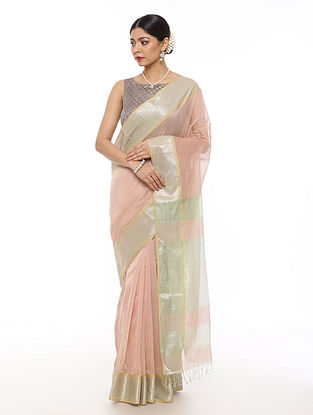 Pink Handwoven Maheshwari Saree with Zari