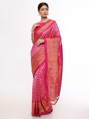 Pink Handwoven Pochampally Silk Saree with Zari