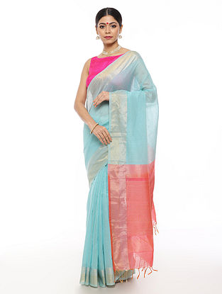 Turquoise-Pink Handwoven Linen Saree with Zari