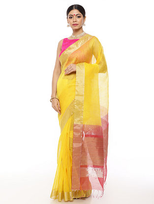 Yellow Handwoven Linen Saree with Zari