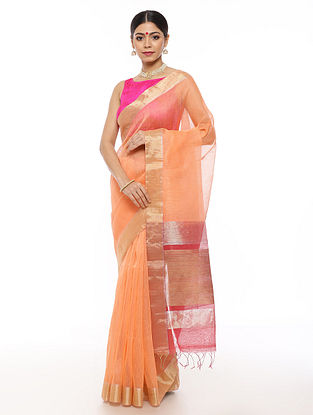 Peach Handwoven Linen Saree with Zari