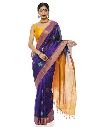 Navy Blue Handwoven Silk Cotton Saree with Zari