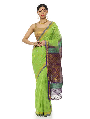 Teal Green Handwoven Silk Cotton Saree with Zari