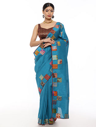 Blue Handwoven Applique Work Dupion Silk Saree with Kantha Embroidery