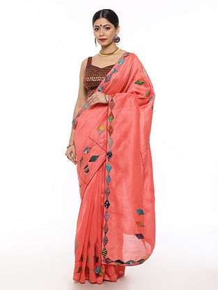 Pink Handwoven Applique Work Dupion Silk Saree with Kantha Embroidery