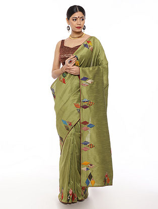 Olive Handwoven Applique Work Dupion Silk Saree with Kantha Embroidery
