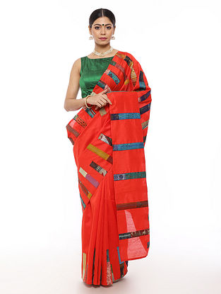 Red-Blue Handwoven Applique Work Dupion Silk Saree with Kantha Embroidery