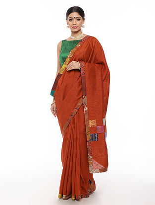 Red Handwoven Applique Work Dupion Silk Saree with Kantha Embroidery