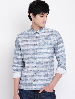 Blue Hand Block-printed Cotton Linen Full Sleeve Shirt