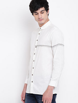 White Cotton Linen Full Sleeve Shirt with Hand Stitched Detailing