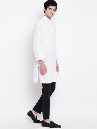 White Cotton Linen Full Sleeve Kurta