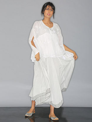 White Shadow-embroidered Mul Top