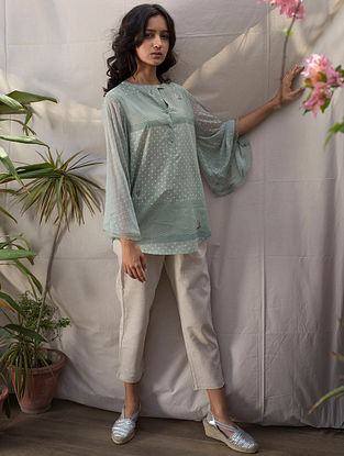 Mint Green Block-Printed Cotton Top