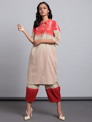 Beige Madder Block Printed Cotton Voile Tunic with Applique and Mul Lining