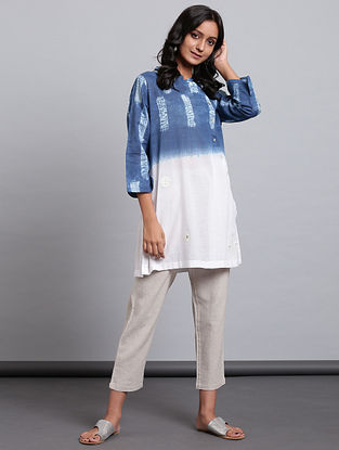 Ivory Indigo Block Printed Cotton Voile Tunic with Applique and Mul Lining