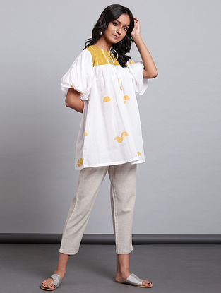 Ivory Mustard Block Printed Cotton Voile Top with Applique and Mul Lining