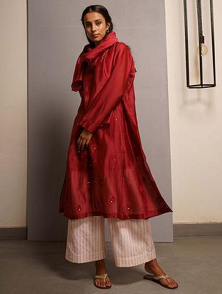 Rubine Red Embroidered Handwoven Chanderi Kurta with Mukaish and Mul Slip (Set of 2)