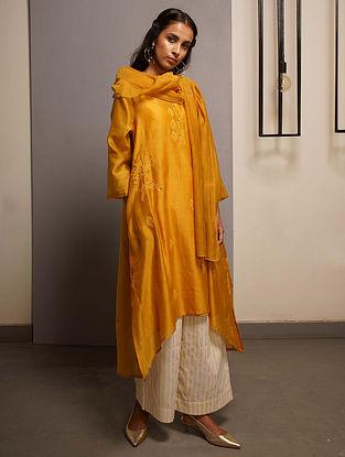 Mustard Embroidered Handwoven Chanderi Kurta with Mukaish and Mul Slip (Set of 2)