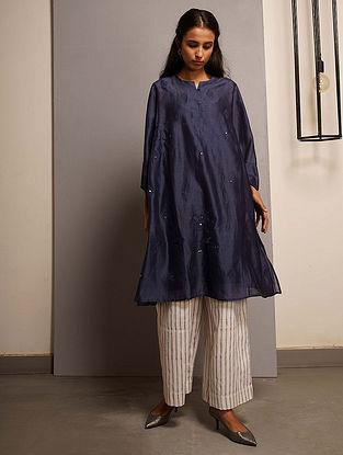 Blue Embroidered Handwoven Chanderi Kurta with Mukaish and Mul Slip (Set of 2)