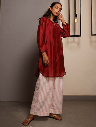 Rubine Red Embroidered Handwoven Chanderi Tunic with Mukaish and Mul Slip (Set of 2)