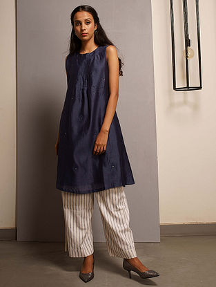 Blue Embroidered Handwoven Chanderi Tunic with Mukaish and Mul Lining