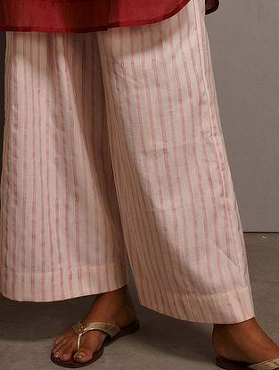 Rose Pink Block Printed Cotton Satin Palazzos