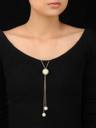 Classic Gold Tone Handcrafted Pearl Necklace