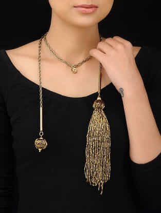 Classic Gold Tone Handcrafted Beaded Necklace with Cut Dana