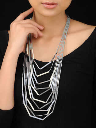 Grey-White Handcrafted Beaded Necklace