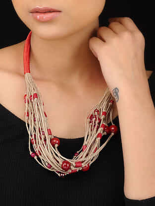 Red Handcrafted Pearl Beaded Necklace
