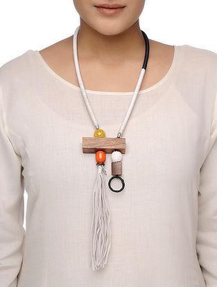 Orange-White Wood Necklace