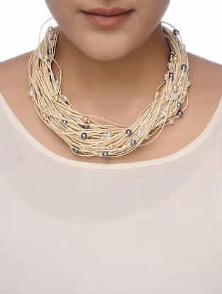 White-Grey Beaded Necklace
