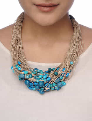 Teal-Beige Beaded Necklace