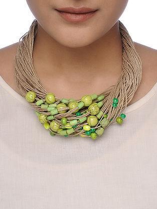 Green-Beige Beaded Necklace