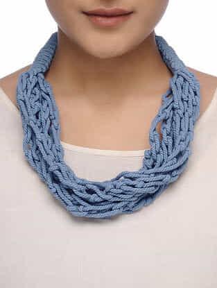 Blue Cotton Thread Necklace