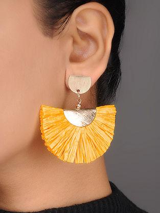 Mustard Brass and Rafia Earrings