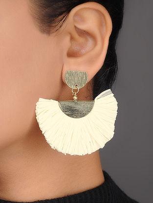 Ivory Brass and Rafia Earrings