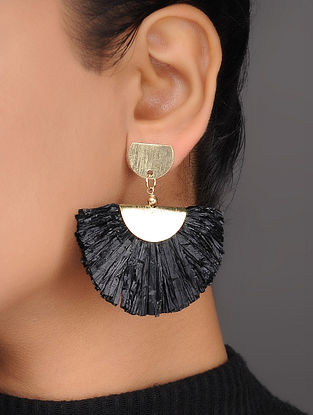 Black Brass and Rafia Earrings