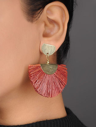 Red Brass and Rafia Earrings