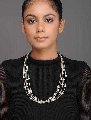 Metallic Pearl Beaded Necklace