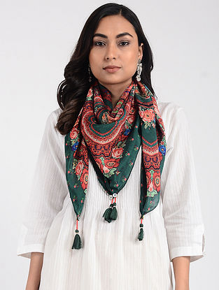 Green-Red Printed Cellulosic Habutai Scarf with Tassels