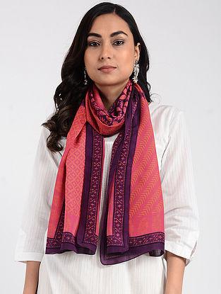 Pink-Purple Printed Cellulosic Habutai Scarf with Tassels