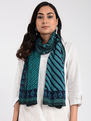 Blue Printed Cellulosic Habutai Scarf with Tassels